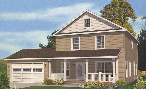 Artist's Rendering of The Farmington Two Story Modular Home (Pennwest Homes Model: HS102-A)