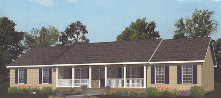 Artist's Rendering of The Carthage Ranch Modular Home (Pennwest Homes Model: HR112-A)