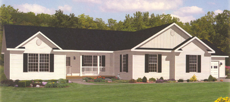 Artist's Rendering of The Davenport II Ranch Modular Home (Pennwest Homes Model: HF114-A)