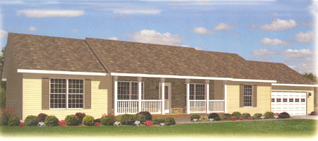 Artist's Rendering of The Davenport Ranch Modular Home (Pennwest Homes Model: HR114-A)