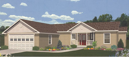Artist's Rendering of The Dover Ranch Modular Home (Pennwest Homes Model: HR111-A)
