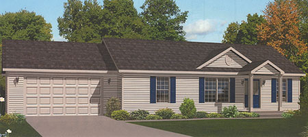 Artist's Rendering of The Edgewood Ranch Modular Home (Pennwest Homes Model: HV103-A)