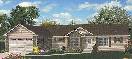 Artist's Rendering of The Fairhaven Ranch Modular Home (Pennwest Homes Model: HV104-A)