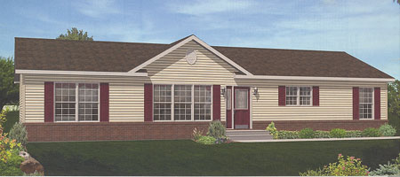 Artist's Rendering of The Hanover Ranch Modular Home (Pennwest Homes Model: HR107-A)