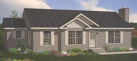Artist's Rendering of The Hartford Ranch Modular Home (Pennwest Homes Model: HV102-A)