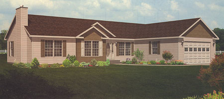 Artist's Rendering of The Monticello Ranch Modular Home (Pennwest Homes Model: HV101-A)