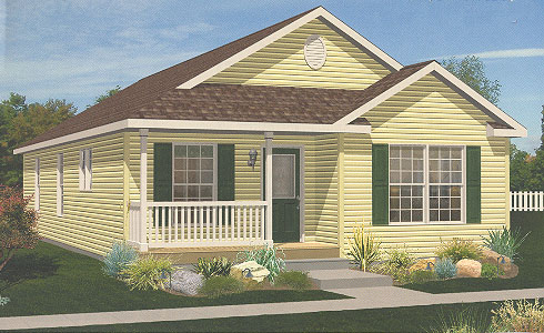 Artist's Rendering of The Newport Ranch Modular Home (Pennwest Homes Model: HR110-A)