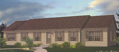 Artist's Rendering of The Oakland Ranch Modular Home (Pennwest Homes Model: HR108-A)