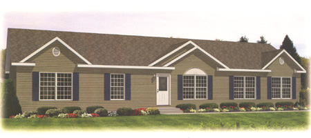 Artist's Rendering of The Quincy Ranch Modular Home (Pennwest Homes Model: HR117-A)
