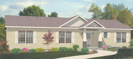 Artist's Rendering of The Rockport Ranch Modular Home (Pennwest Homes Model: HR103-A)