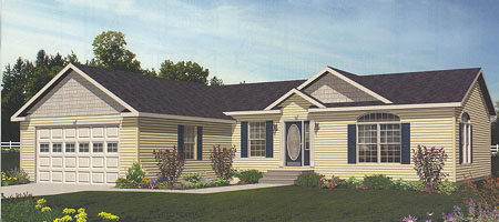 Artist's Rendering of The Windham Ranch Modular Home (Pennwest Homes Model: HR102-A)